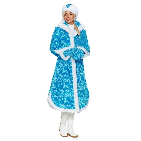 Карнавальный костюм Снегурочка Боярская синяя