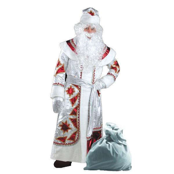 Карнавальный костюм Дед Мороз серебряно-красный