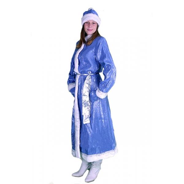 Снегурочка длинная приталенная парча голубая