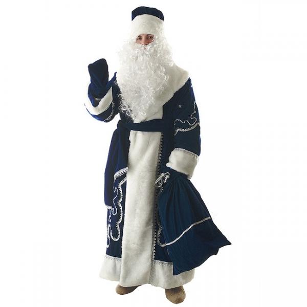 Костюм Дед Мороз синий (бархат с орнаментом)