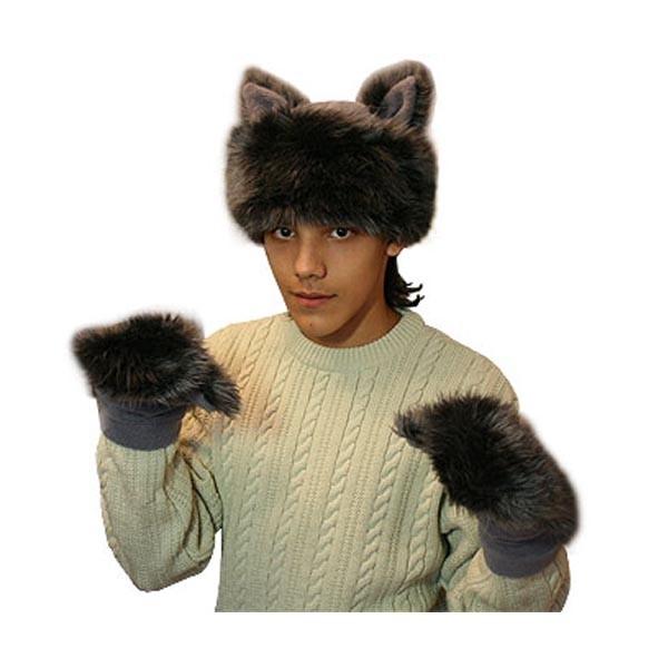 Карнавальная шапка Волка с рукавицами арт KV-8ser