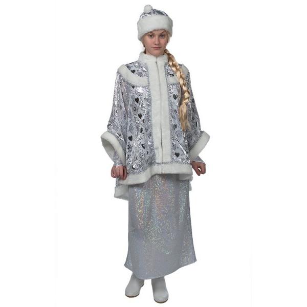 Маскарадный костюм Снегурочки с платьем голография арт. Н150