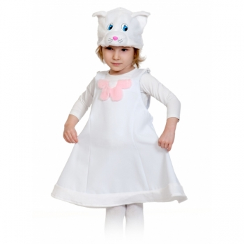Костюм Кошечка белая ткань-плюш К2079