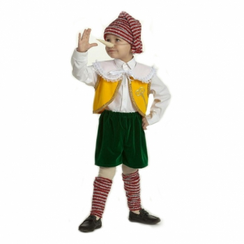 Карнавальный костюм Буратино бархат атлас