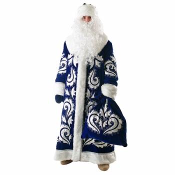 Костюм Дед Мороз Боярский синий (бархат с вышивкой)