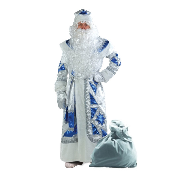 Карнавальный костюм Дед Мороз серебряно-синий