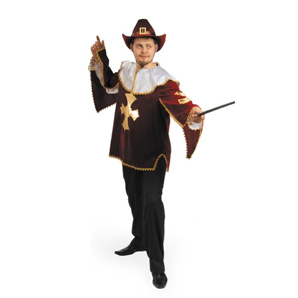 Карнавальный костюм Мушкетер бархат бордо