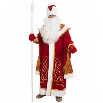Дед Мороз с пелериной красный (бархат, парча)