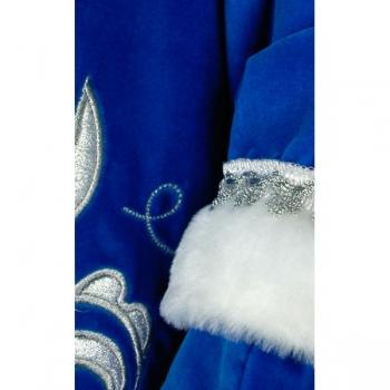 Снегурочка длинная приталенная синий бархат с вышивкой