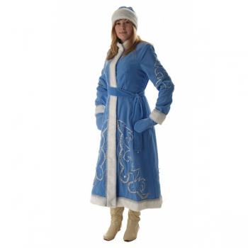 Костюм Снегурочка длинная приталенная голубой бархат с орнаментом