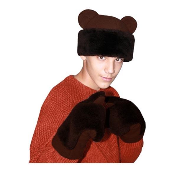 Карнавальная шапка Медведя с рукавицами арт KV-6kor